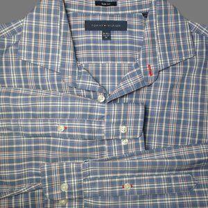 Tommy Hilfiger Men's Plaid Slim Fit Shirt Blue M